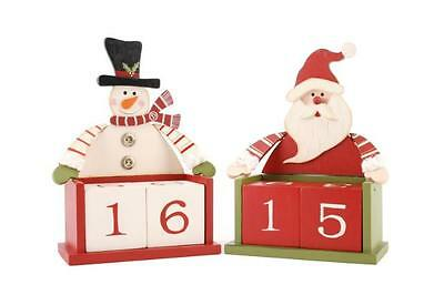 weihnachten holz adventskalender countdown bl cke weihnachtsmann oder schneemann eur 18 93. Black Bedroom Furniture Sets. Home Design Ideas