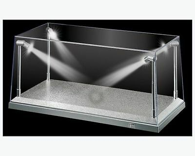 Display Case Box Show Case with LED Light Silver Base for Diecast Models 1:18