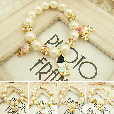 New Kids Children Baby Girls Pearl Bracelet Star Shell Jewelry Accessories Gift