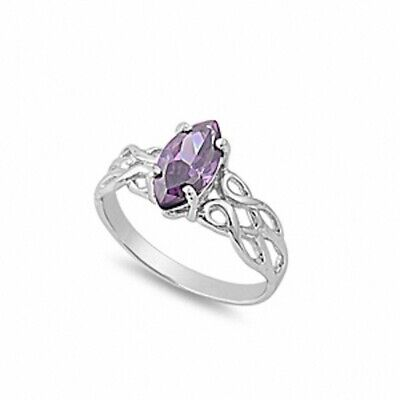 1.25CT Amethyst Celtic Twisted Knot Solitaire Ring Solid 925 Sterling Silver