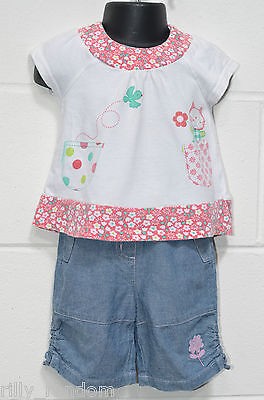 Girls White Top And Shorts Trousers Mixed Brands UK Age 3 - 6 Months