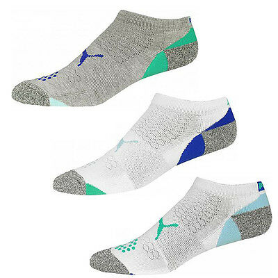 New 2016 Puma Women's Pounce Low Cut Socks COLOR: White/Grey/Blue 3-Pair Pack