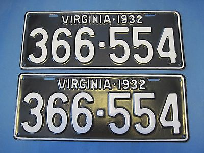 1932 Virginia License Plates Matched Pair professionally restored