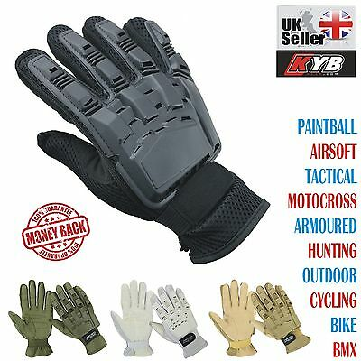 KYB Paintball Airsoft Tactical Motocross Cycling BMX Armour Full Finger Gloves