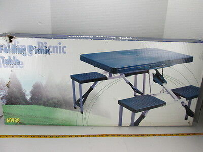 Outdoor Folding Picnic Table 4 Seats Blue Plastic & Metal 60938 Camping S