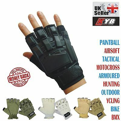 KYB Paintball Airsoft Gloves Tactical Motocross Cycling Armour Half Finger Less