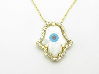 18k Yellow Gold Sterling Silver White Sapphire Evil Eye Hamsa Pearl Necklace