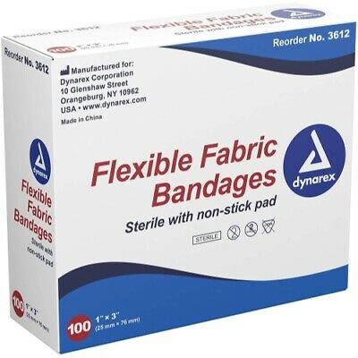 """Dynarex Sterile Fabric Bandages 1""""X3"""" latex free #3612 100 band aids"""