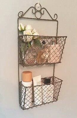 Vintage Style Metal Wire Basket Storage Wall Letter Rack Shabby Chic Unit Tidy