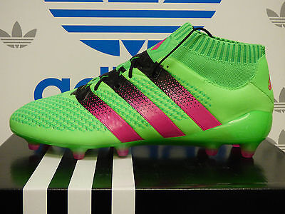 NEW ADIDAS ACE 16.1 Primeknit Firm Ground Soccer Cleats - Green/Black; AQ5151