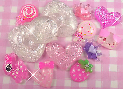 11 x ALL THAT GLITTERS Resin Flat Back Cabochons Beads Kawaii Decoden UK SELLER!