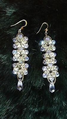 Handcrafted Lavender Crystal Bead and Bronze Drop Earrings