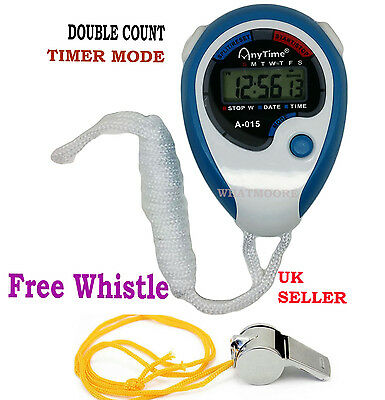 Digital Handheld Sports Whistle & Stopwatch Stop Watch Time Counter Clock Alarm