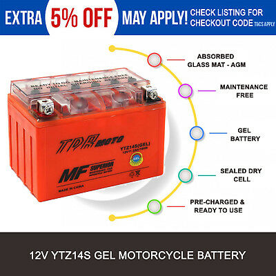 YTZ14S Motorcycle GEL battery  Honda Yamaha KTM BMW Motorbikes Scooter ATV Mower