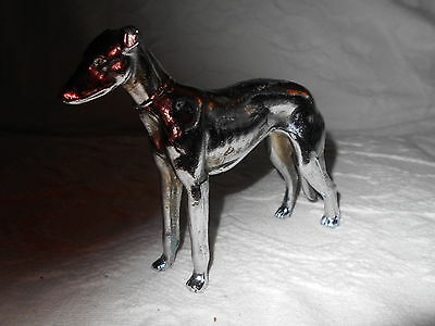 Vintage Cast Metal Greyhound / Whippet Dog Figure Approx. 4 X 4 Inches