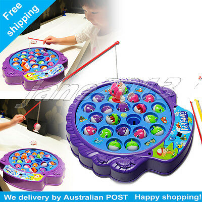 Fishing Game 21 Fish 4 Fishing Rods Table Board Game Kids Toy with music