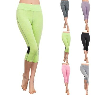 Women High Waist Capri Cropped Leggings Yoga Pants for Gym Fitness Workout Wear