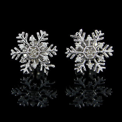 0.06 ct Real Natural Diamond 10k White Gold Over Snowflake Stud Earrings