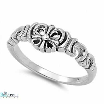 Cross Ring Christianity Catholicism Art Deco Design Solid 925 Sterling Silver