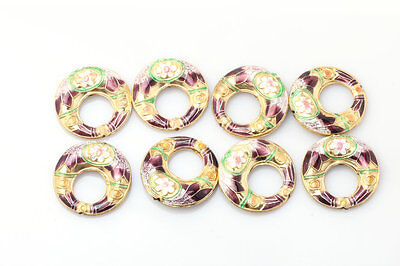 Lot's 50PCS Plum Retro colour Cloisonne flowers Charm Spacers Beads 27*6mm CL152