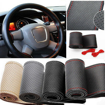 HOT Synthetic Leather DIY Car Steering Wheel Cover With Needle and Red Thread