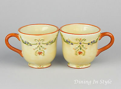 RARE! Set of 2 Mugs (12 oz.) MINT UNUSED Condition! Tuscan Garden, Whole Home
