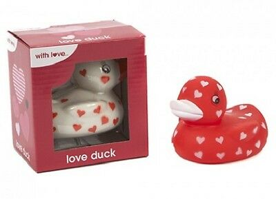 1 X Rubber Duck - Love Duck In Display Box Red or White Rubber Bath Duck