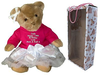 Personalised Birthday Teddy Bear Gift 1st 16th 18th 21st - 100th QUICK DISPATCH