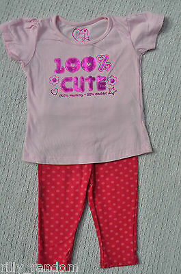 Girls Pink Mix Short Sleeved Top And Leggings Outfit Mixed Brands UK Age 6-9 Mth