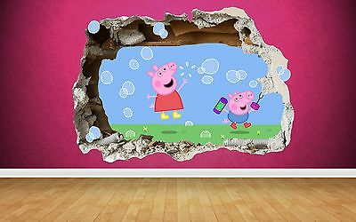Peppa Pig 3D Style smashed wall sticker kids childrens bedroom vinyl art