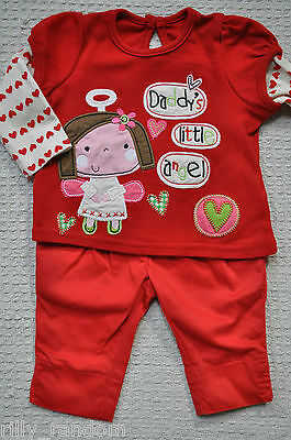 Girls Red Daddys Angel Top And Red Trousers Mixed Brands UK Age 3 - 6 Months