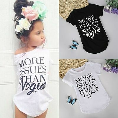 Summer Toddler Kids Baby Girl Short Sleeve T-shirt Tops Casual Blouse Dress 2-7Y