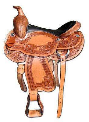 """Brown Leather Western Saddle """"Rounded Scout"""" 17"""" Seat 7"""" Gullet"""