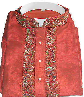 Red  Sherwani Silk Designer Party wear Formal  Men Kurta Free shawl Medium 3PCS