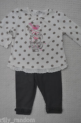 Girls Spotted Top And Brown Leggings Mixed Brands UK Age 3 - 6 Months