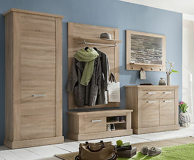garderobe set flurgarderobe holz sonoma eiche 5 tlg mit schrank kommode sydney eur 749 00. Black Bedroom Furniture Sets. Home Design Ideas