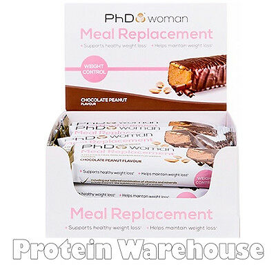 12 PhD Woman Meal Replacement Choc Peanut 60g Bar Support Healthy Weight Loss