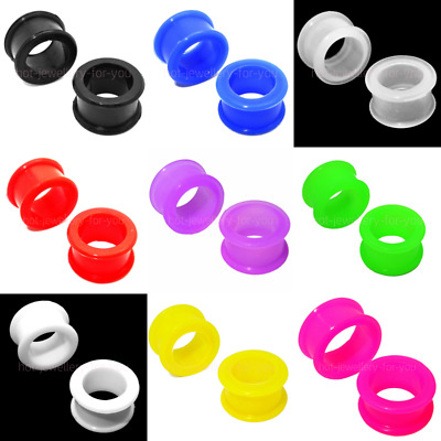 Flesh Tunnel Double Flared Silicone Ear Plugs Soft Stretcher Defender Single