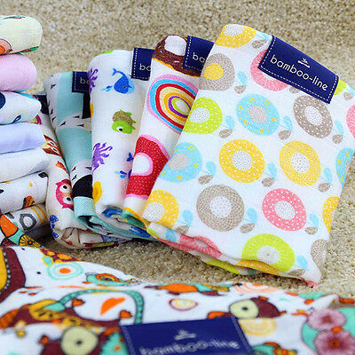 BAMBOO NAPPIES PRINTED SQUARE SOFT TO TOUCH NAPPY BIBS REUSABLE 75x75 35x35