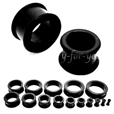 Black Flexible Flesh Tunnel Ear Plug Stretcher Soft Silicone Flared 4mm to 30mm
