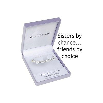 Sisters By Chance Friends By Choice Silver Plated Bangle Bracelet Gift Box