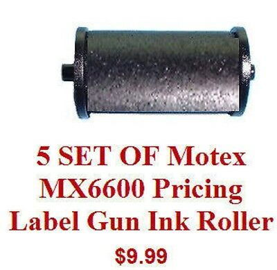 5 SET OF Motex MX6600 Pricing Label Gun Ink Roller all brand new and fresh 18mm