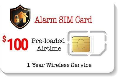 $100 Prepaid Alarm SIM Card for GSM Home Security Alarm System + GPS Tracker