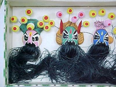 Vintage Miniature Chinese Ceremonial Face Masks / Hand Painted Set of Five