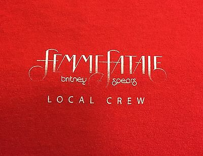 Rare Red Britney Spears Femme Fatale Concert T-Shirt- Local Crew Size XL