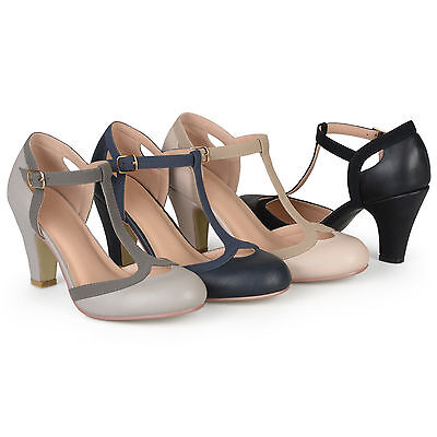 Brinley Co. Womens Standard And Wide-Width T-strap Two-tone Mary Jane Pumps