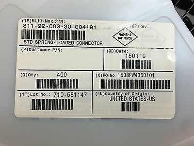811-22-003-30-004191 MILLMAX Head 3-Pin Spring Load 0.236 A 10 PIECES
