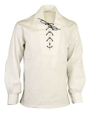 Scottish Cream Jacobite Ghillie Kilt Shirt Leather Cord Sizes S - - 5XL