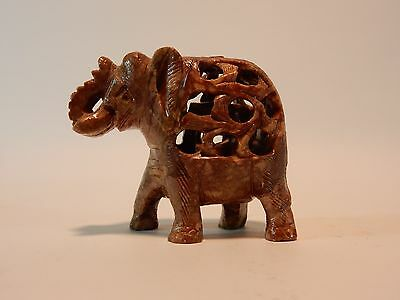 Chinese soapstone Elephant with Baby inside 3 inches