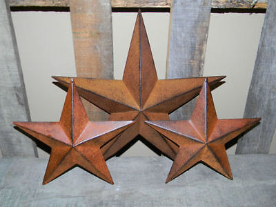 "SET of 3 12"" 8"" RUSTY BLACK BARN STAR Metal Tin Rust Primitive Country Farmhous"